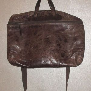 Doucal's Distressed Brown Leather Messenger Bag
